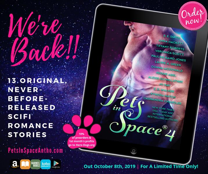 The cover of Pets In Space 4 displayed on an iPad, announcing we're back! with 13 original sci-fi romance stories and a link to https://PetsInSpaceAntho.com